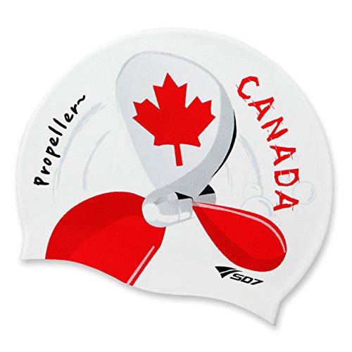 Canada Flag(Maple Leaf Flag), Propeller Image, Silicone Swimming Head Cap