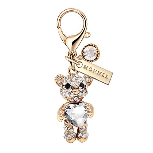 MC107 New Arrival Crystal Clear Heart Teddy Bear with Lobster Clasp Charm Pendant with Pouch Bag (1 Piece)