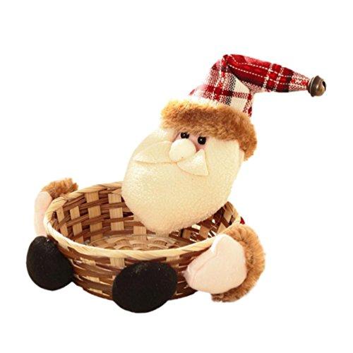 Clearance! SINMA Christmas Candy Storage Santa/Snowman/Elk Basket Xmas Decoration Ornament Gift for Children (C)