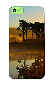 Iphone 5c Hard Back With Bumper Silicone Gel Tpu Case Cover For Lover's Gift Landscapes Forest Nature Environment Lakes Sunrise Fog Reflection