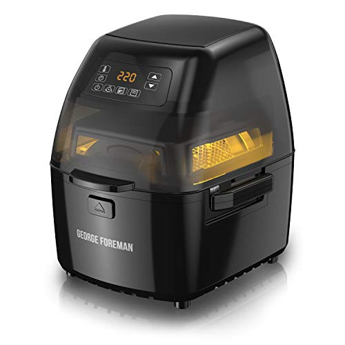 George Foreman GHFD6800B Twist 'N Crisp Air Fryer, with Rotisserie Attachment, 3L Capacity, Black