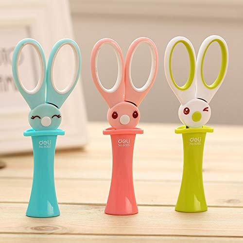 Kawaii Plastic Colored Scissors Lovely Rabbit Safety Scissors for Kids Gift School Supplies Korean Stationery ()