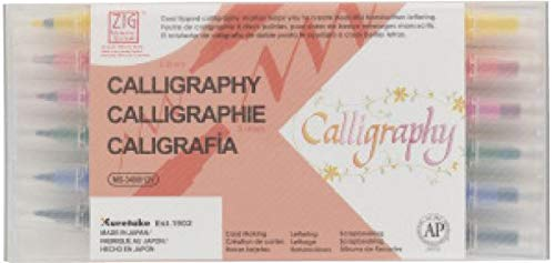 ZIG MS340012 Memory System Calligraphy Dual-Tip Markers 12/Pkg