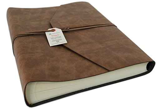 LEATHERKIND Viaggio Recycled Leather Photo Album, Large Tan - Handmade in Italy