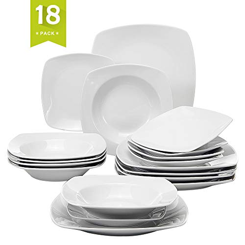Malacasa JULIA-18 Stoneware Dinner Soup Dessert Plates Cups 18-Piece Porcelain Dinnerware Set for 6 Person, Pack, Julia