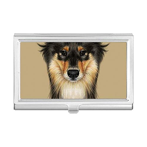 (Long-haired Rough Collie Pet Animal Business Card Holder Case Wallet)