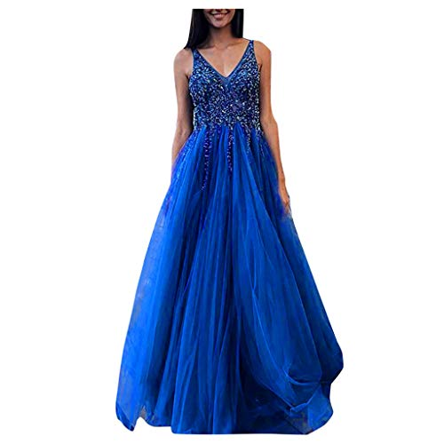 Maxi Evening Dress for Women V Neck Equin Chiffon Bridesmaid Wedding Party Cocktail Gown Blue