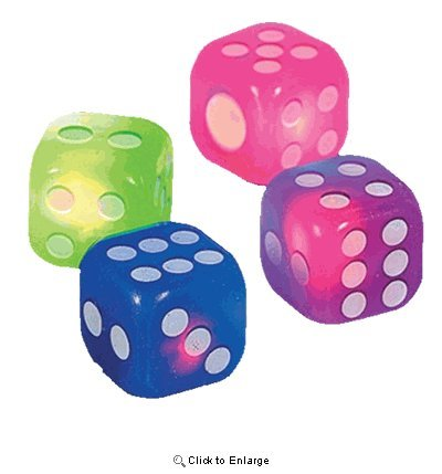 Flashing Rubber Dice - Set of 4 - Assorted Colors 1.5 in Rubber ()