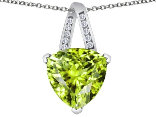 15mm Trillion Pendant (Star K Large 15mm Trillion Pendant Necklace with Simulated Apple Green Amethyst Sterling Silver)