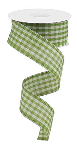 Primitive Gingham Check Wired Edge Ribbon, 10 Yards (Light Moss, Ivory, 1.5