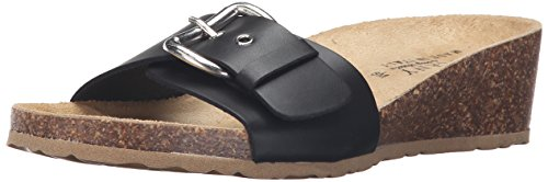 Easy Street Women's Amico Wedge Slide Sandal, Black Leather, 6.5 N US