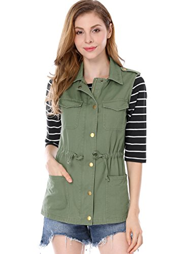 nctional Pockets Drawstring Waist Cargo Vest XL Green (Twill Cargo Jacket)