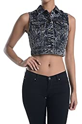 American Bazi Women\'s Crop Top Denim Vest RBT320 - BLACK - Large C1B