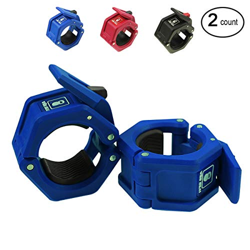 WODSKAI Olympic Barbell Collars Pair of 2 inch, Solid Nylon Locking Clamps with Quick Release Secure Snap Latch, Great for Weight Lifting Gym Barbell Clamp Collars (Blue)
