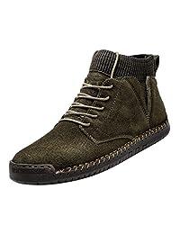 yoyoiop Retro Combat Boots Men's Casual Shoes Breathable Socks Locomotive Tooling Shoe