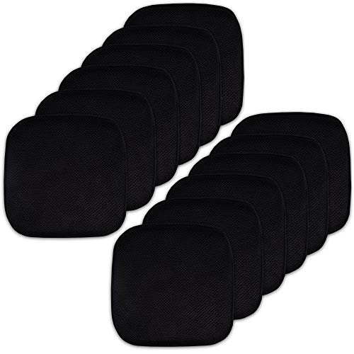 """Sweet Home Collection Memory Foam Chair Cushion Honeycomb Pattern Solid Color Slip Non Skid Rubber Back Ultimate Comfort and Softness Rounded Square 16"""" x 16"""" Seat Cover, 12 Pack, Black"""