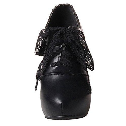 COOLCEPT Damen Mode Hoher Ferse Schnurung Booties Schuhe (36 As, Black)