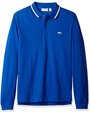 Men's Long Sleeve Holiday Animation Regular Fit Polo Shirt with Piped Collar