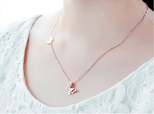b8503d8a9 WDSHOW Rose Gold Stainless Steel Butterfly Pendant Necklace Stud Earrings:  Amazon.co.uk: Jewellery