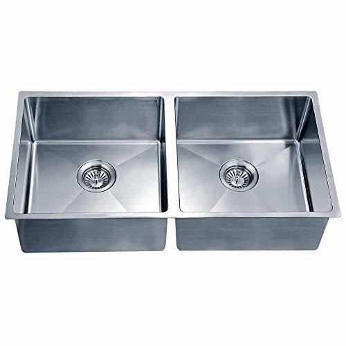 Dawn SRU331616 Undermount Small Corner Radius Equal Double Bowl Sink, Polished (Satin Polished Double Bowl)