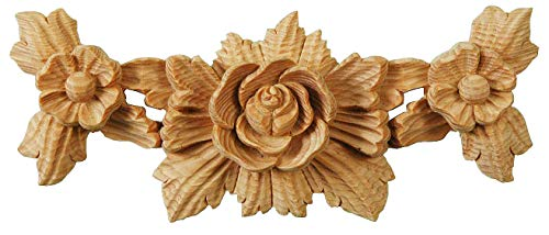 Rosette Swag. Victorian Style Furniture Onlay. Each Piece Individually Hand Carved by Our Master Craftsman in Solid Natural Pinewood. Supplied as One Piece. 3¾ in high x 9 in wide x 1¼ in thick (Rosette Furniture)