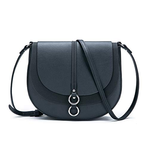 Saddle Shoulder Bag Small Purse Black Hasp Satchel and Tote PU Leather ()