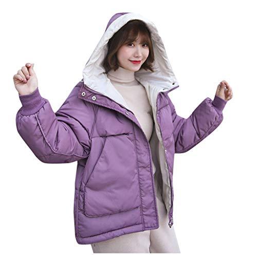 Rmeioel Women Winter Warm Faux Fur Hooded Thick Warm Slim Jacket Overcoat Hoodies Loose Outcoat Coat Purple (Patagonia Womens Better Sweater Full Zip Hoody)