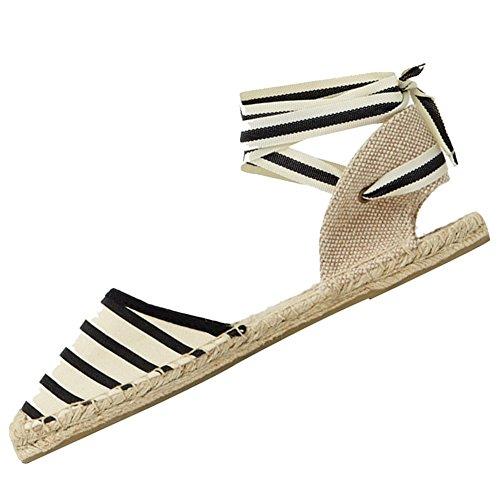 rismart Women's Slingback Flat Heel Espadrilles Sandals Shoes SN02351(Stripe,8 B(M) US)