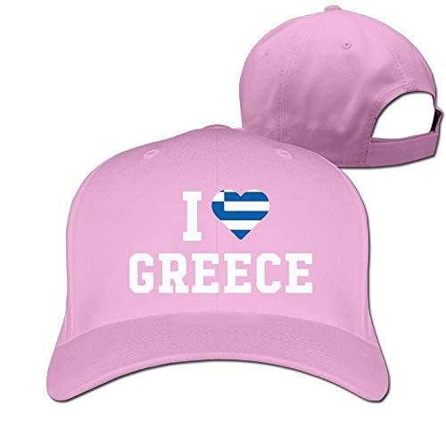 Men and Women I Love Greece Flag Heart 100% Cotton Baseball Cap Unisex19