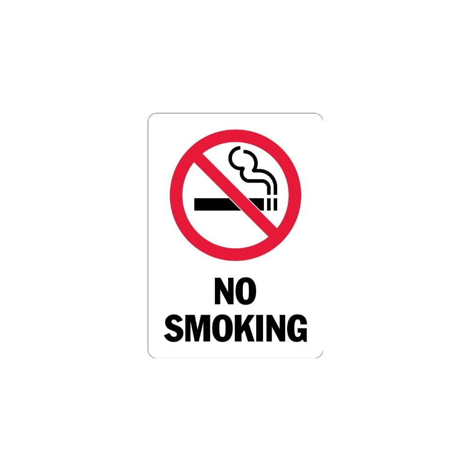 SmartSign 3M Engineer Grade Reflective Sign, Legend No Smoking with Graphic, 14 high x 10 wide, Black/Red on White