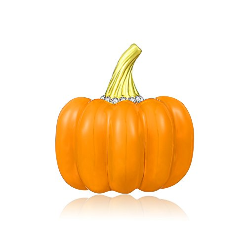 Mytys Pumpkin Brooch Thanksgiving Brooch Pin Crystal Brooch Halloween Jewelry Gift for $<!--$7.89-->