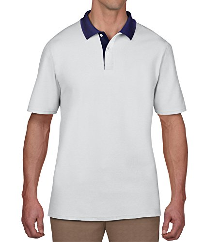 Uomo placket Corta Anvil Ka030 Polo white weiß Navy wht Bianco Manica 8qxtHa4