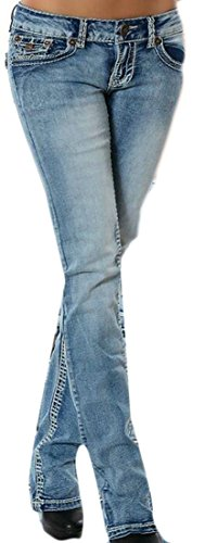 Boot Cut Rinse Wash (Smeiling Women's Stretch Denim Rinse Wash Skinny Bootcut Jeans Waistband 2 XL)