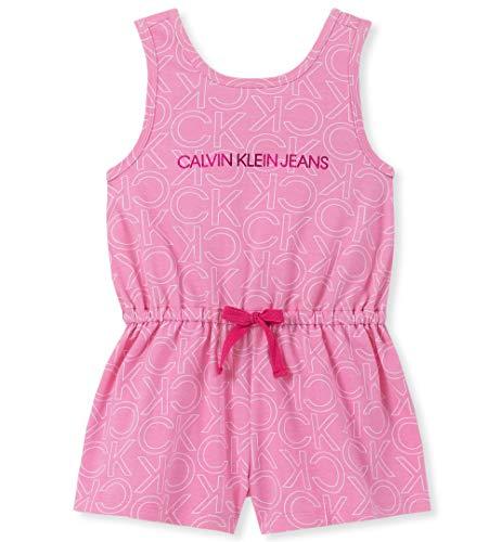 Calvin Klein Girls' Toddler Romper, Pink Print -