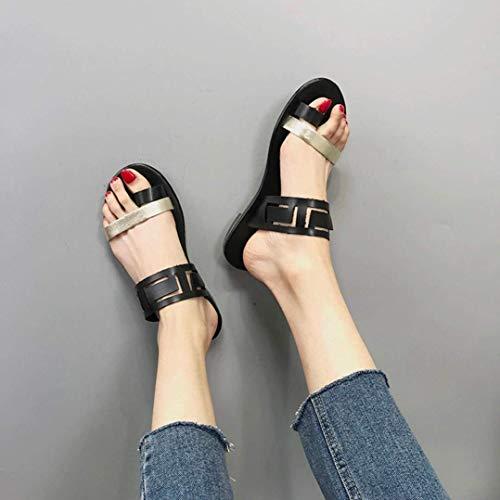 Chaussures Toe Sandales 7 Tête Zhrui Noir Plage 3 Dames Creux Liquidation eu Clip Flip Vacances Compensées Mode De Taille Été Sandales 34 Femmes Noir Casual Ronde Pantoufles Flop P8gxAw8