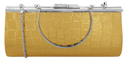 Peach Couture Elegant Embossed Metal Frame Kiss Lock Evening Clutch Handbags (Gold Alligator)