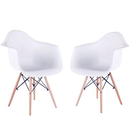 Wood Shell Natural Finish (HollyHOME Eames Style Molded Dining Arm Chair with Wood legs Mid Century Modern Chair, Set of 2)