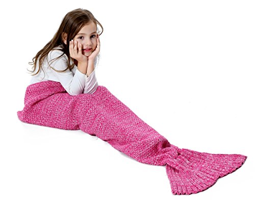 Rainbow Bright Costume Uk (S-D Scaly Mermaid Tail Blanket Girls Dressing Up Toys Handmade Knitted Living Room Sofa Throws Perfect Birthday gifts for any Girl (55.1'' x 27.6'', Pink))