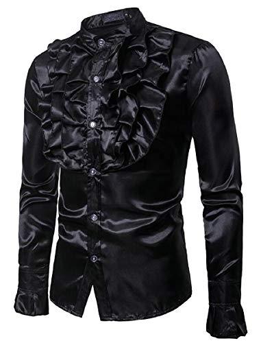 ZXFHZS Men's Gothic Steampunk Ruffled Top Victorian Button Down Shirts Black ()