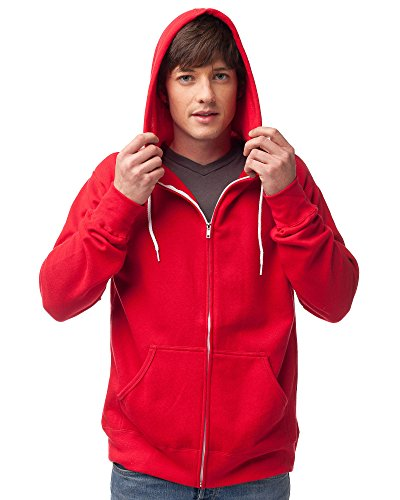 Slim Fit Lightweight Zip Up Hoodie for Men and Women XL Red ()