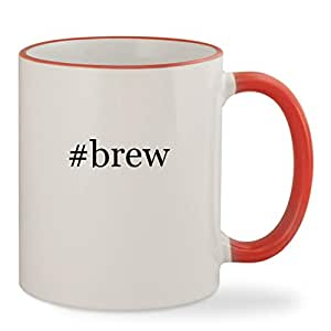 #brew - 11oz Hashtag Colored Rim & Handle Sturdy Ceramic Coffee Cup Mug, Red