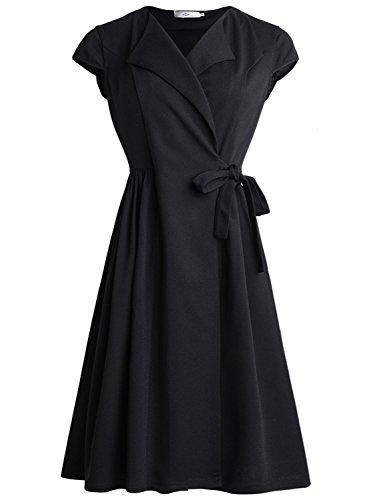 nt Bowknot Waist Lace-up Dress (L, Black) (Elegante Component)