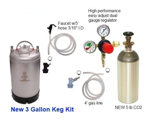Homebrew Kegerator Kit - 3 Gal Ball Lock Keg - 5# CO2 - Regulator - Pigtails (Soda Keg Kit compare prices)