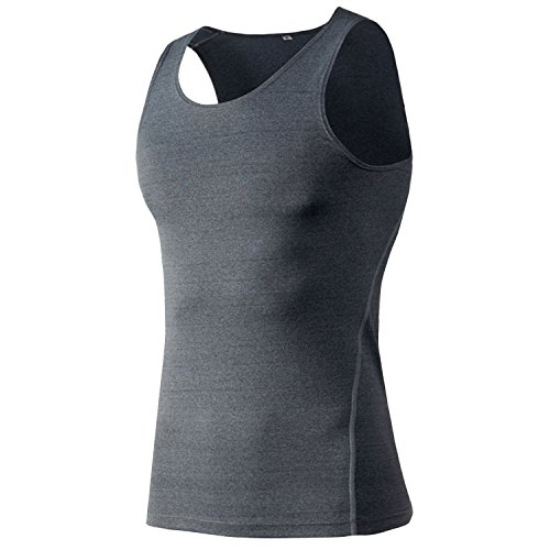 Panegy Men's Sleeveless Compression Shirt Dry Fit Tank Top Tight Sports Athletic Singlet for Bodybulding Workout Weight loss Grey (Fit Singlet)