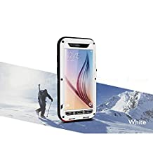 FOME Samsung Galaxy S6 Case, Extreme Hard Military Heavy Aluminum Metal Armor Tank Gorilla Glass Shockproof Rainproof Water Resistant Weatherproof Dust/Dirt/Snow Proof Anti-smudge Resistant Acoustic Port Protection Cover Case For Samsung Galaxy S6 (White) + FOME Gift