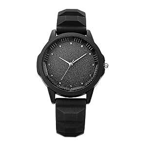 Relojes Pulsera Único Rhinestone Brillante Dial Esmerilado Cuarzo Relojes Mujer Correa de Silicona Mate Deportivo, Negro: Amazon.es: Relojes
