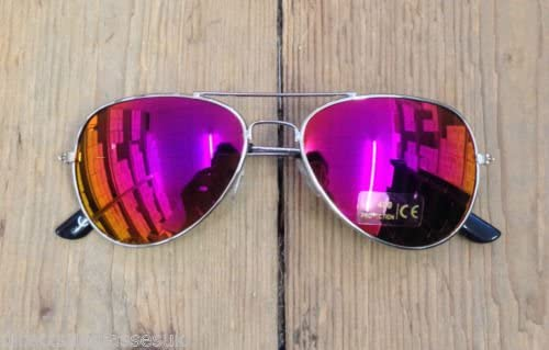 Silver Frame Purple Mirror CHILDRENS KIDS BOYS GIRLS SUNGLASSES SHADES BRIGHT LENSES UV400 PROTECTION