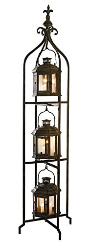 Metal Candle Lanterns with Stand - Three-tier Lantern Stand for Yard Product SKU: - Tier Cst