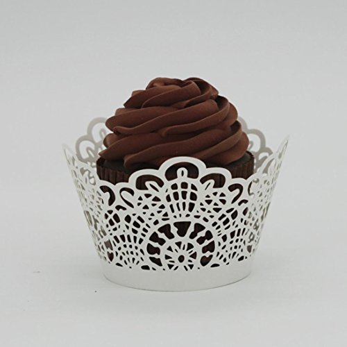 HP95 New! Leaves Lace Laser Cut Cupcake Wrapper Liner Baking Cup Muffin (Lace Laser, White)