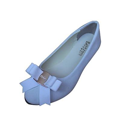732c833dbbcb84 Femme Ballerines en Simili Cuir Mocassins Ballet Slip on Chaussures Plates Souple  avec Arc,Blanc